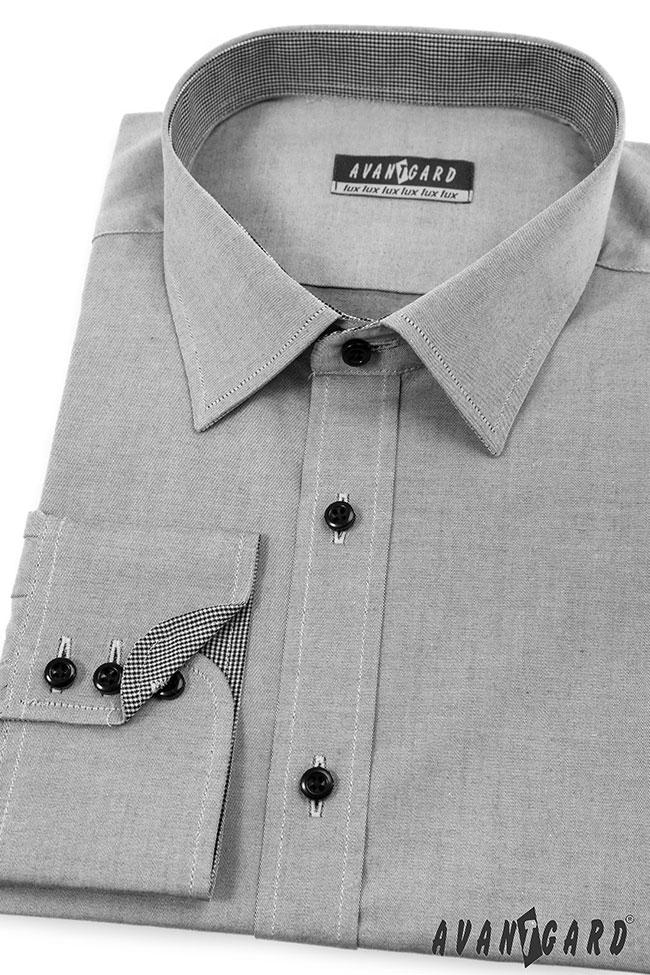 Pánská košile AVANTGARD SLIM dl. ruk. - Šedá 6858d0ee78