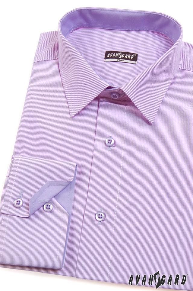 Pánská košile AVANTGARD SLIM dl. ruk. - Fialová 3c37dcd597