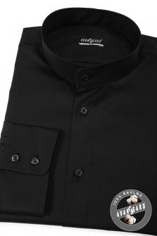Pánská košile se stojáčkem SLIM dl.rukáv - Černá 8a6fed2157