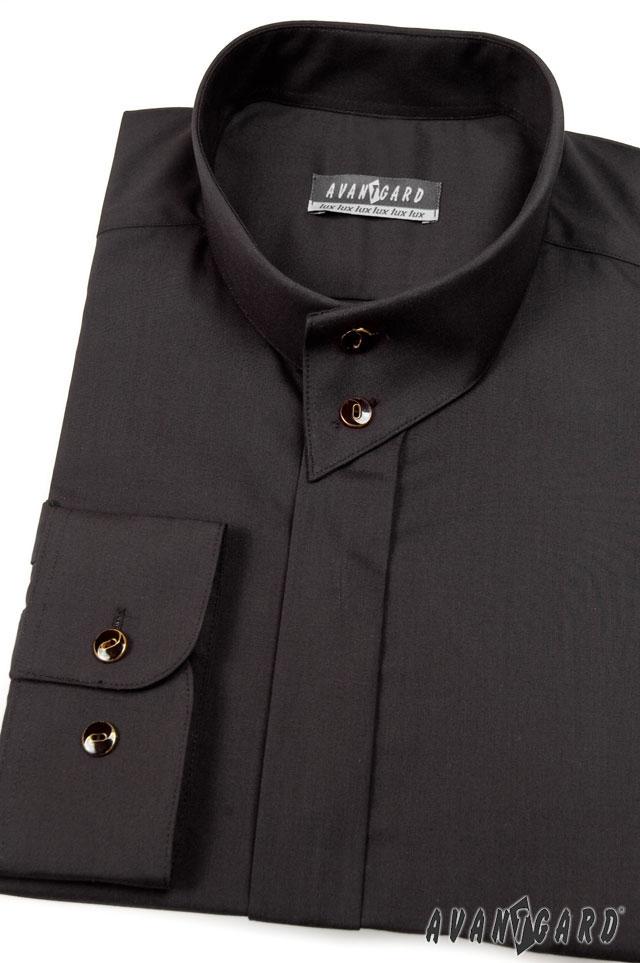 1d0cf91f933 Pánská košile se stojáčkem na 2 knoflíky