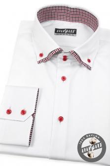 Pánská košile SLIM dl.rukáv - Bílá červená 195456045a