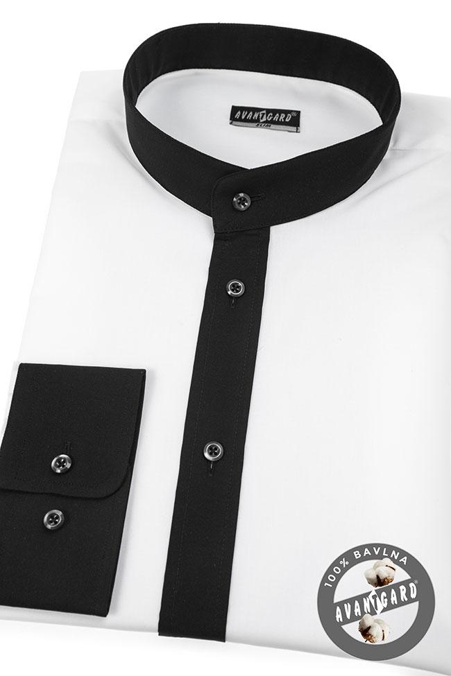 8a0120a4eff Pánská košile se stojáčkem SLIM dl.rukáv - Bílá