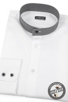 Pánská košile se stojáčkem SLIM dl.rukáv - Bílá 3cba51bb56